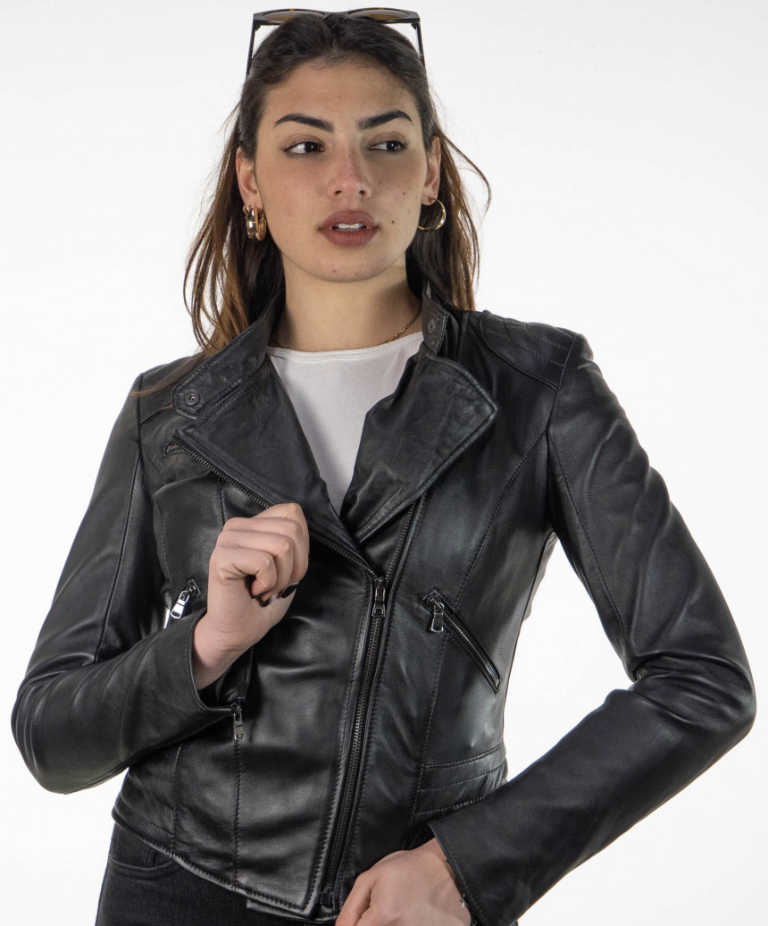 Manila - Woman Jacket in Genuine Leather Blue Oil Vintage