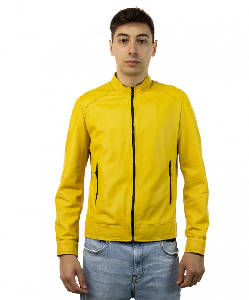 U04 - Men's Genuine Brown Leather Jacket Oil Vintage - 4