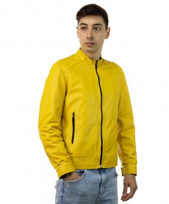 U04 - Men's Genuine Brown Leather Jacket Oil Vintage - 1