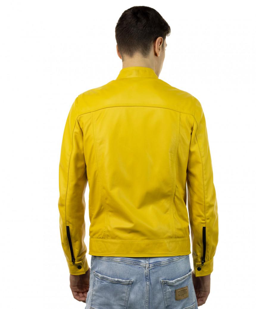 U04 - Men's Genuine Brown Leather Jacket Oil Vintage - 5