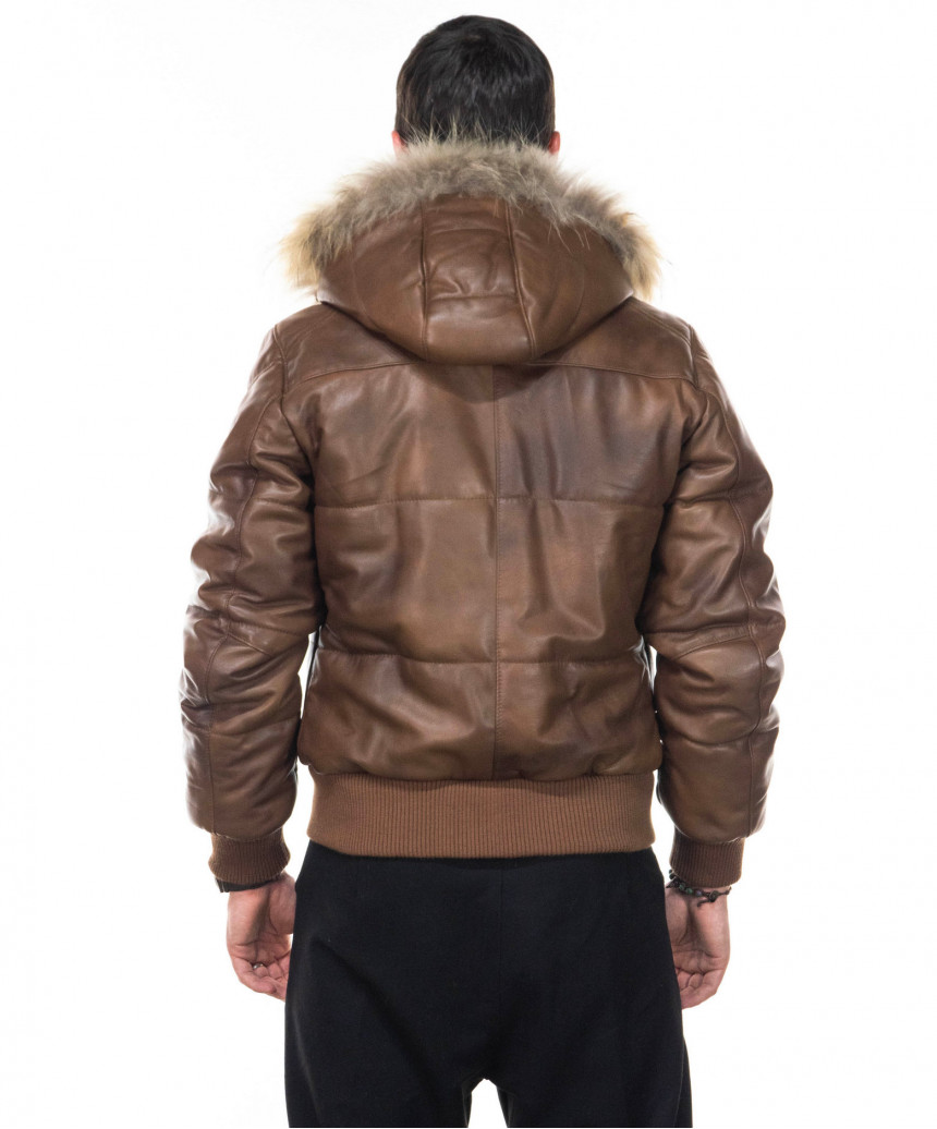 Michelina Cap - Woman Jacket with Hood in Soft Brown Genuine Leather