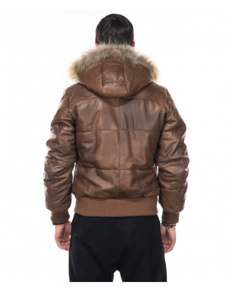 Michelina Cap - Women Jacket with Hood of Genuine Soft Brown Leather - 1