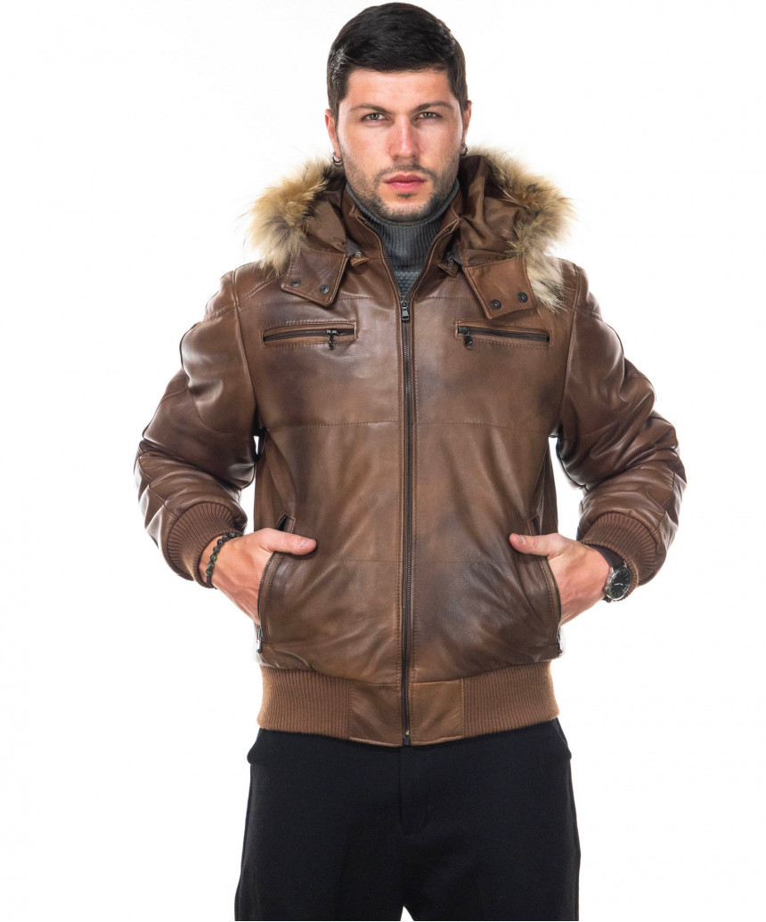 Michelina Cap - Women Jacket with Hood of Genuine Soft Brown Leather - 2