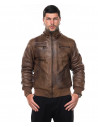 Michelina Cap - Women Jacket with Hood of Genuine Soft Brown Leather - 3