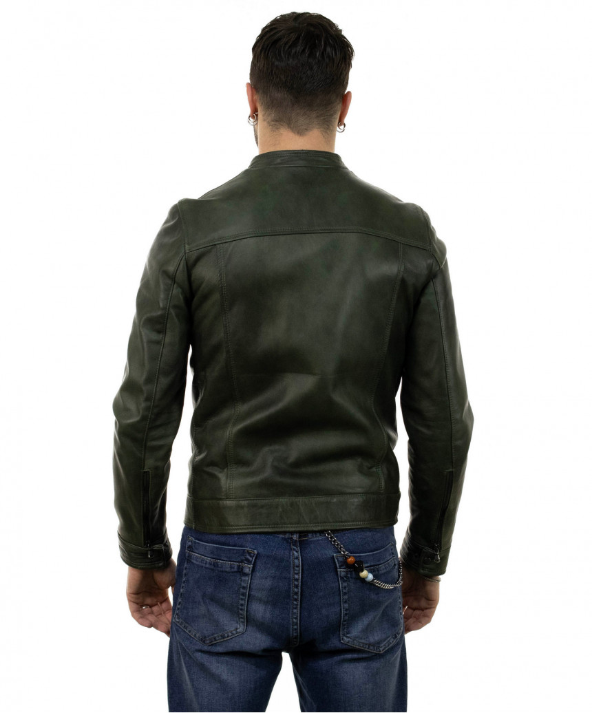 V173 - Women Jacket of Genuine Distressed White Leather - 2