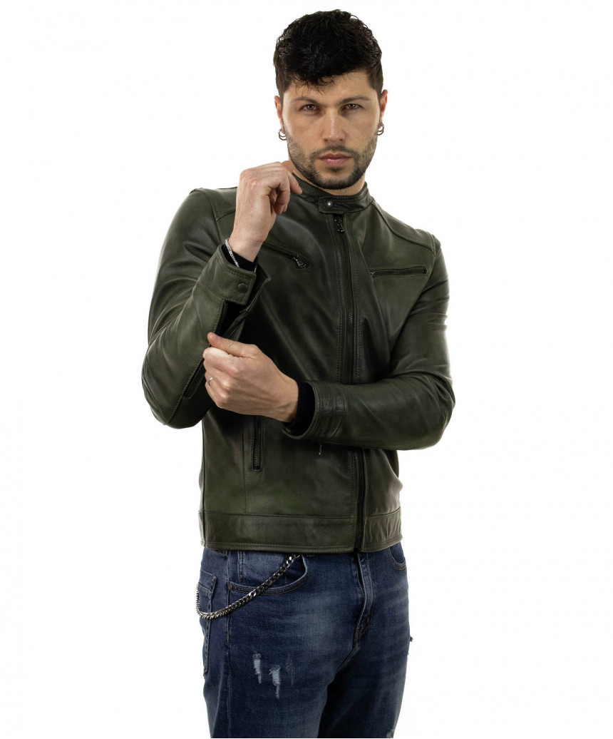 V173 - Woman jacket in genuine buffered white leather