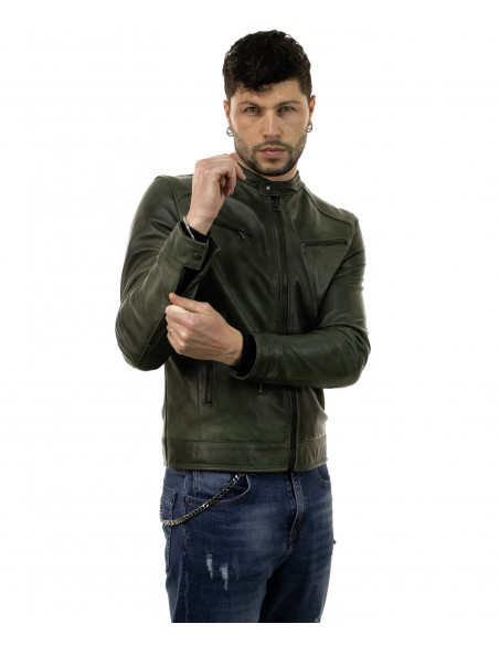 V173 - Women Jacket of Genuine Distressed White Leather - 1