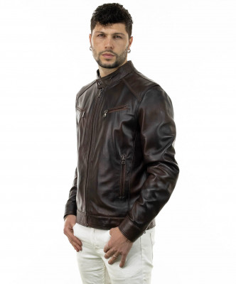 V173 - Women Jacket of Genuine Distressed White Leather - 5