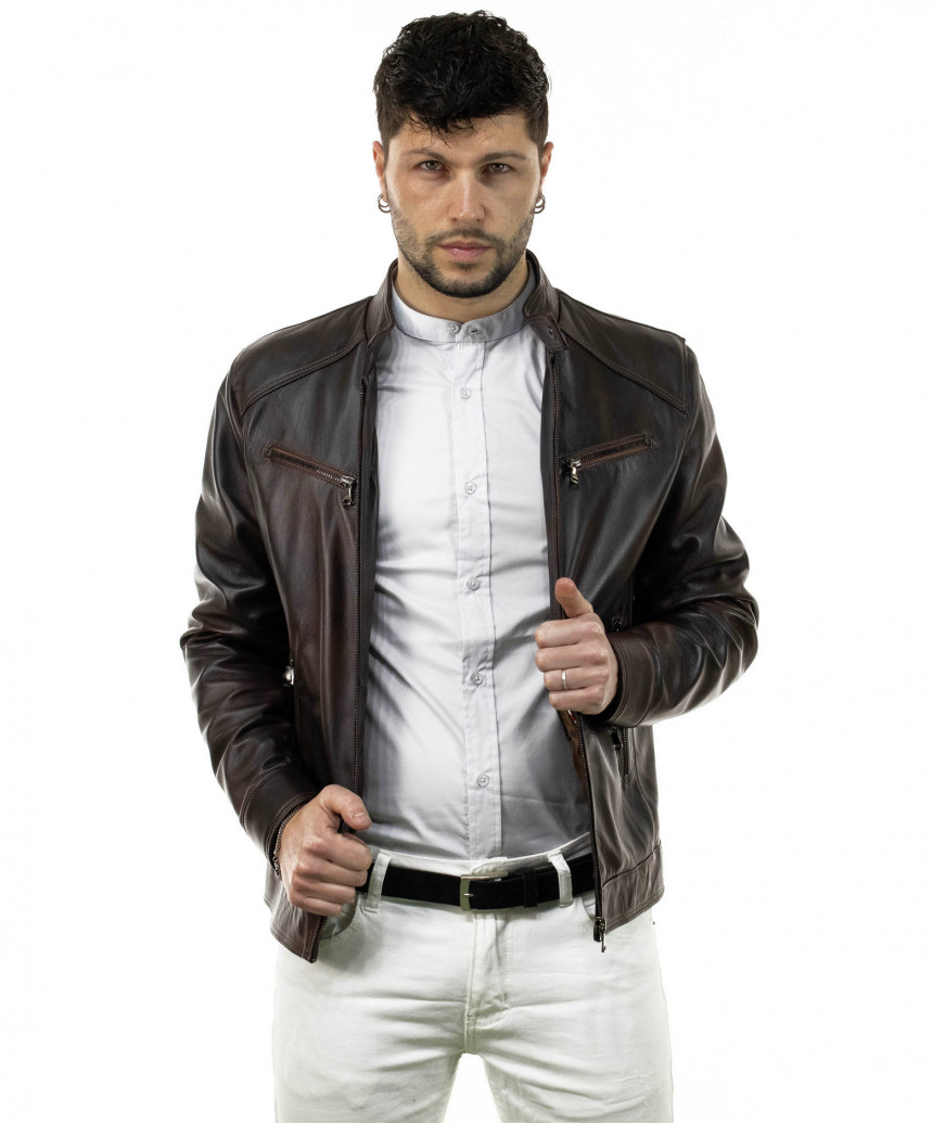 V173 - Women Jacket of Genuine Distressed White Leather - 6