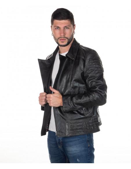 Chiodo Donna - Giacca in Vera Pelle con Cintura colore Verde Invecchiato - 3