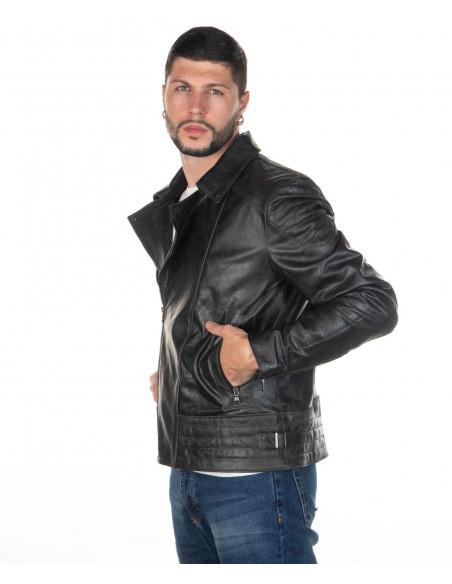 Chiodo Donna - Giacca in Vera Pelle con Cintura colore Verde Invecchiato - 5