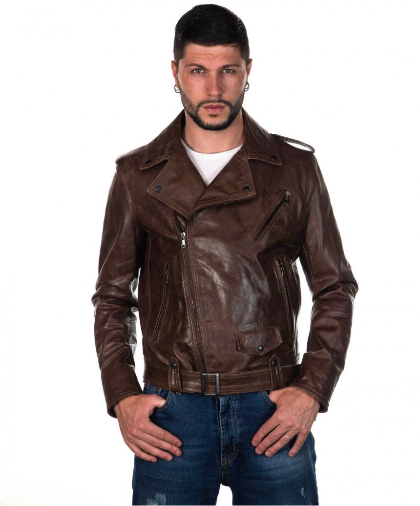 Terminator - Giacca Uomo con Cappuccio in Vera Pelle colore Bordeaux Invecchiato - 2