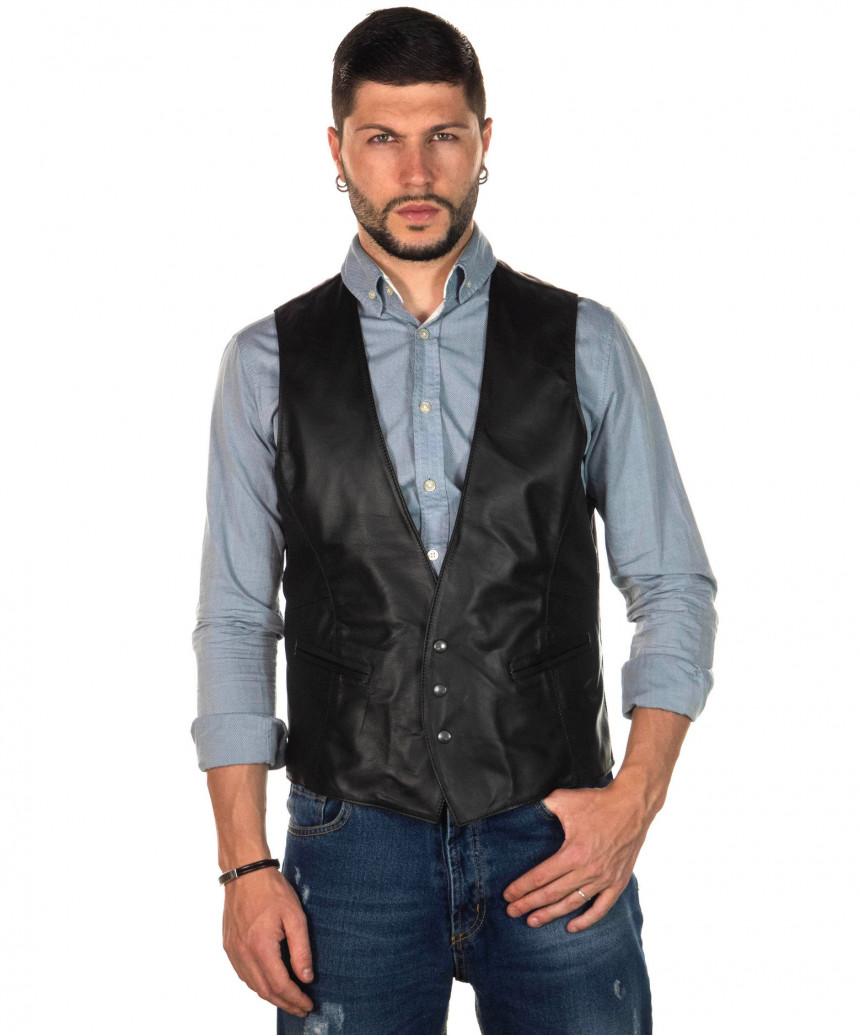 Terminator - Giacca Uomo con Cappuccio in Vera Pelle colore Bordeaux Invecchiato - 3