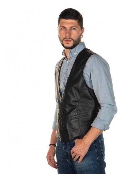 Terminator - Giacca Uomo con Cappuccio in Vera Pelle colore Bordeaux Invecchiato - 5