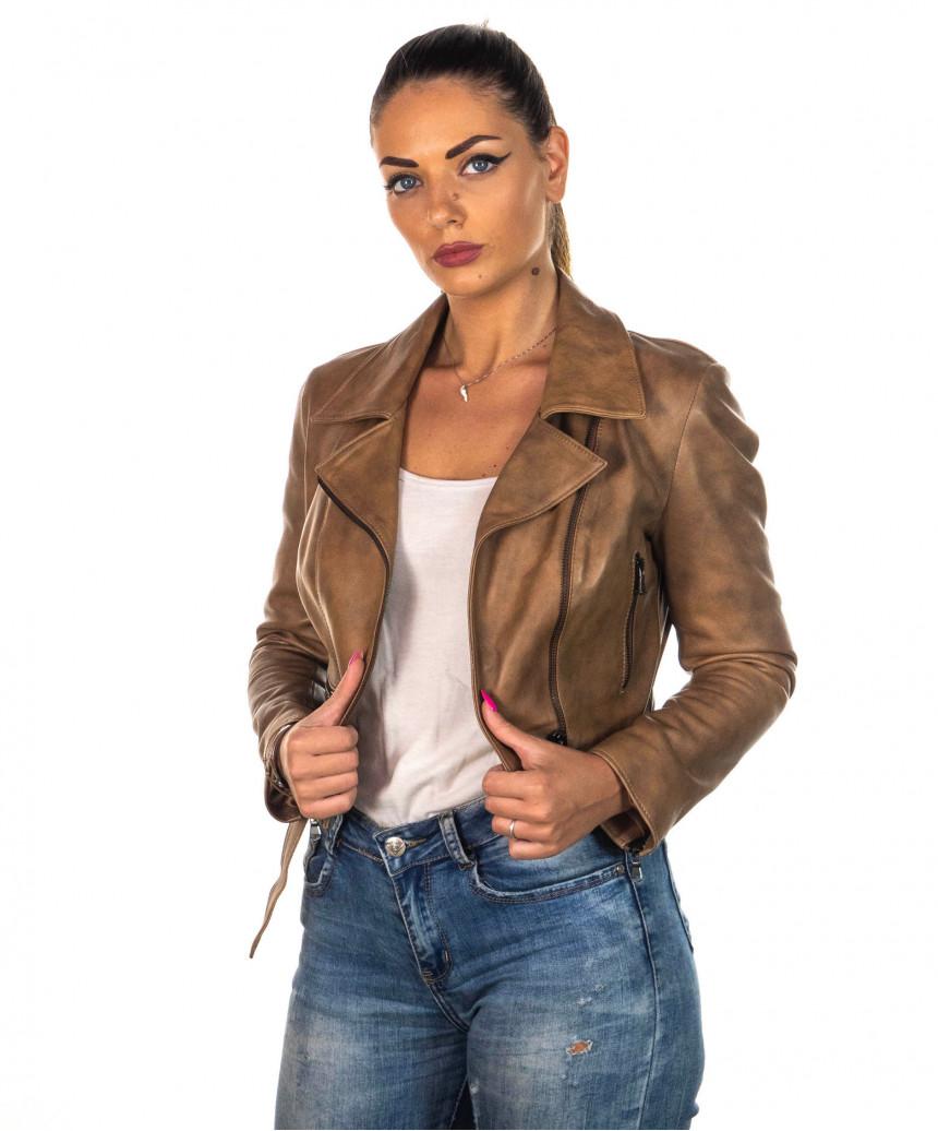 Chiodo Donna - Giacca in Vera Pelle con Cintura colore Blu Invecchiato