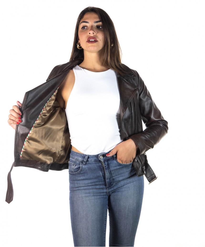 Chiodo Donna - Giacca in Vera Pelle con Cintura colore Cuoio Invecchiato - 2