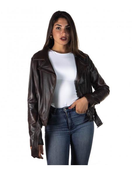 Chiodo Donna - Giacca in Vera Pelle con Cintura colore Cuoio Invecchiato - 5