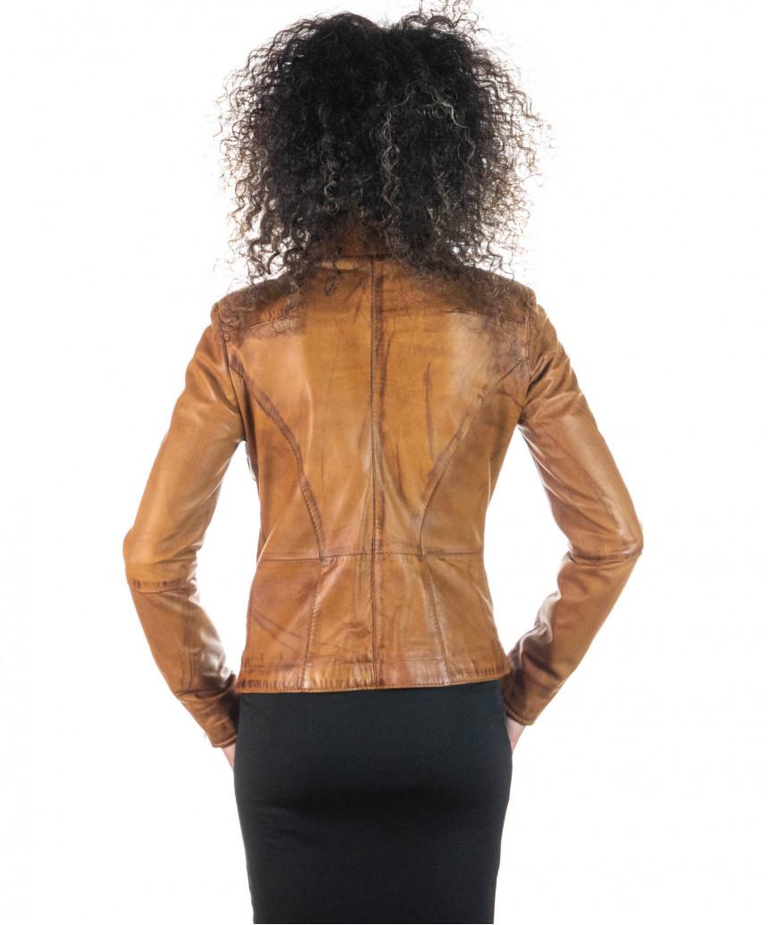 V173 - Women Jacket of Genuine Aged Green Leather - 1