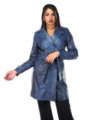 V173 - Giacca Donna in Vera Pelle colore Verde Invecchiato - 5