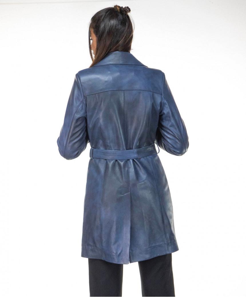 V173 - Women Jacket of Genuine Aged Green Leather - 6