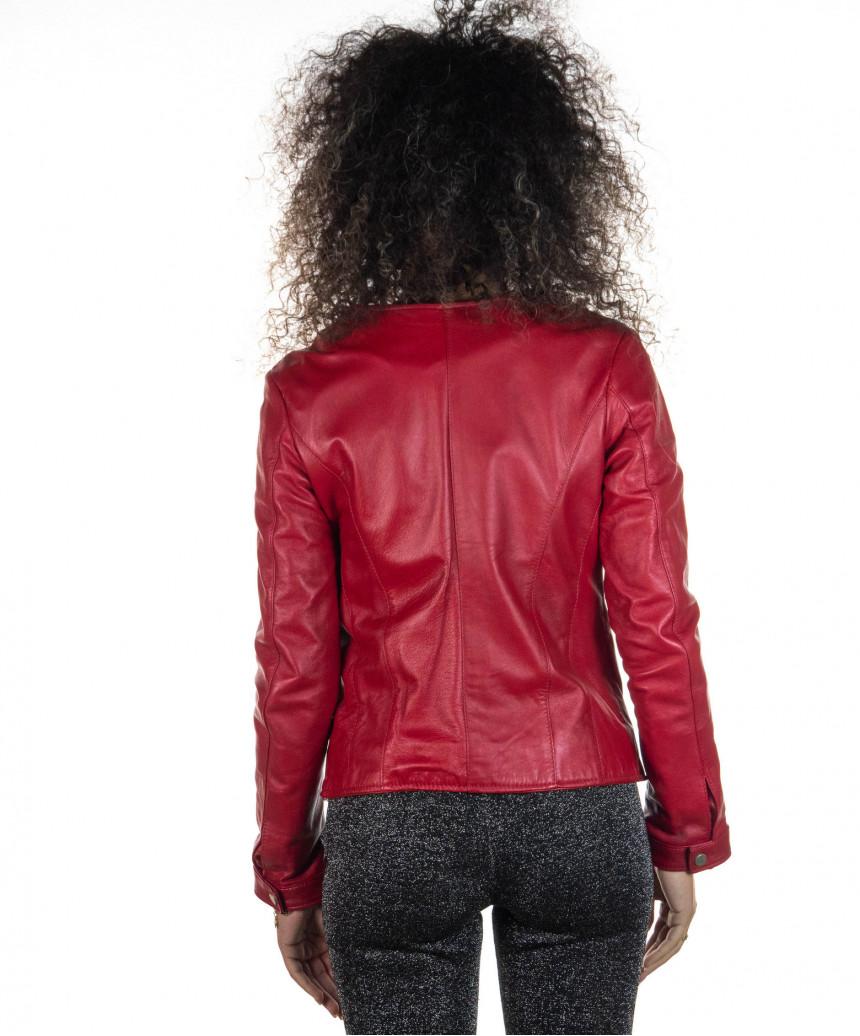Raff - Women Jacket in Genuine Aged Blue Leather
