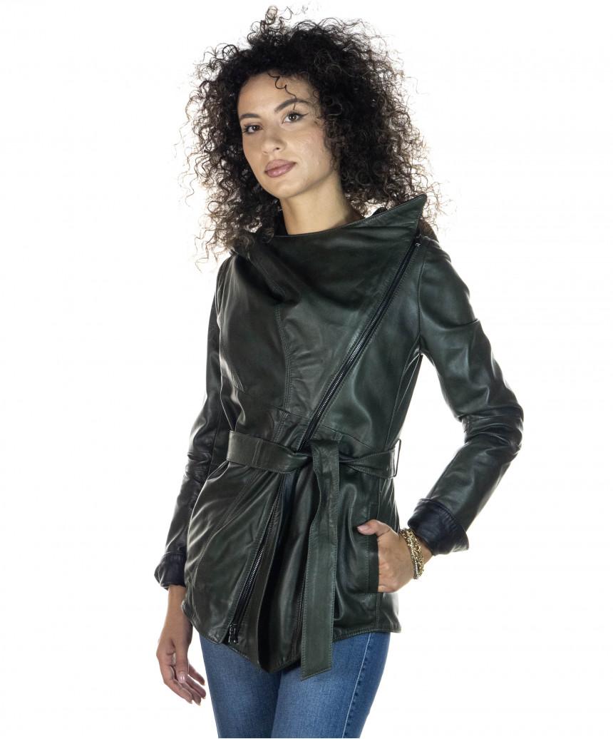 Raff - Giacca Donna in Vera Pelle colore Blu Invecchiato - 3
