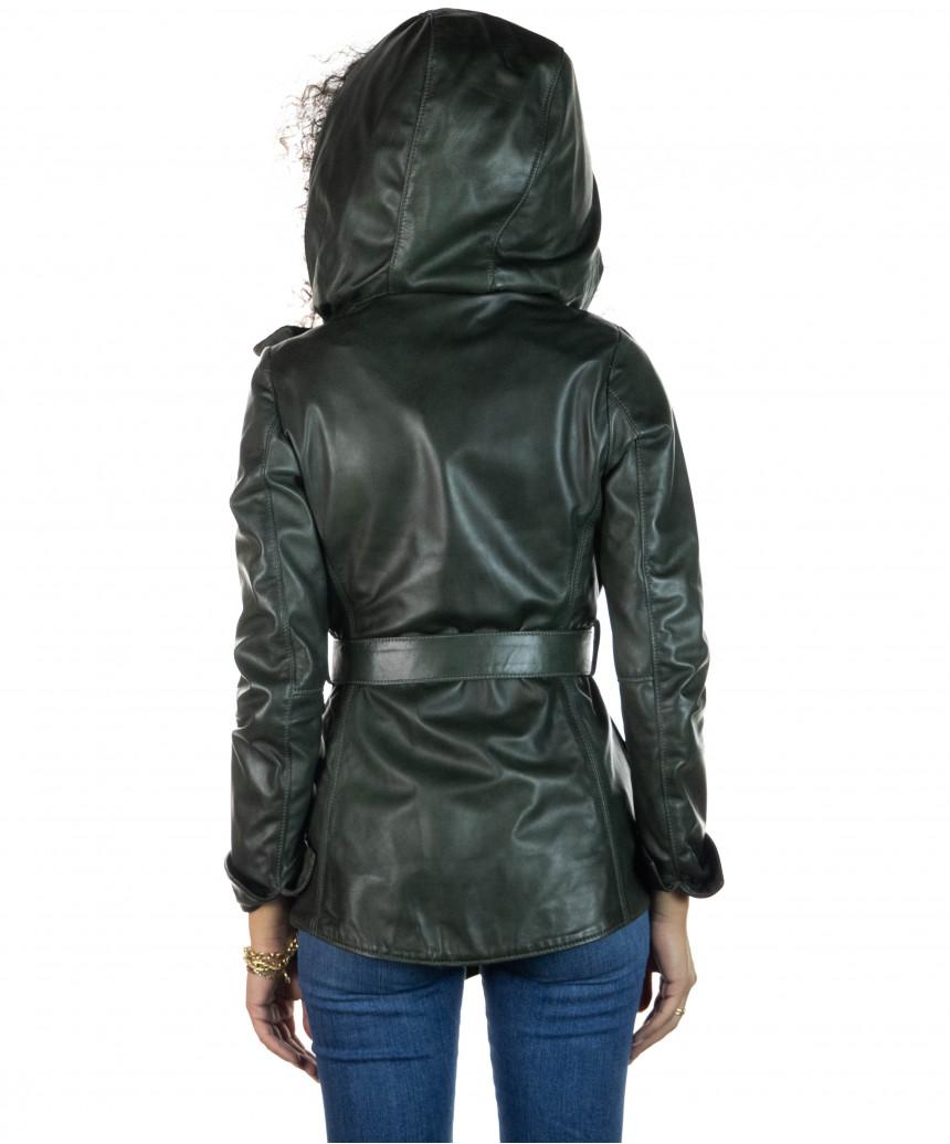 Raff - Giacca Donna in Vera Pelle colore Blu Invecchiato - 5