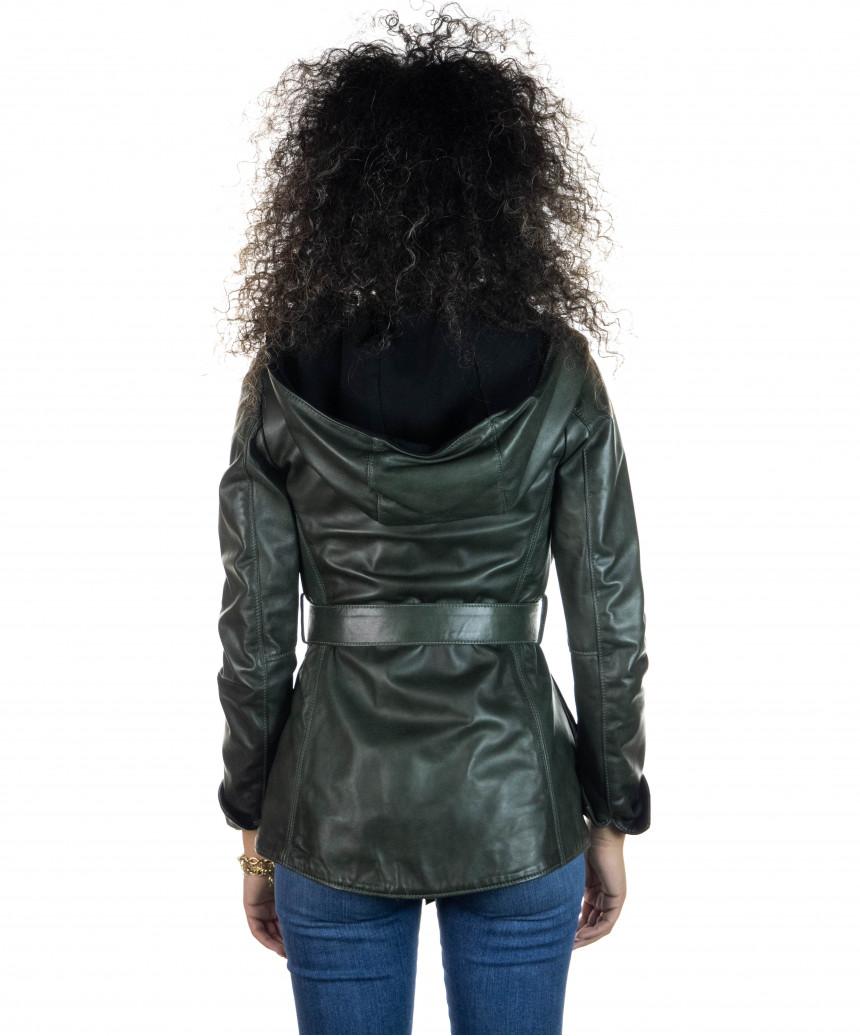Raff - Women Jacket in Genuine Aged Bordeaux Leather
