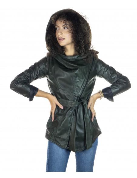 Raff - Giacca Donna in Vera Pelle colore Bordeaux Invecchiato - 2