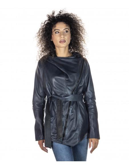 Raff - Giacca Donna in Vera Pelle colore Bordeaux Invecchiato - 3