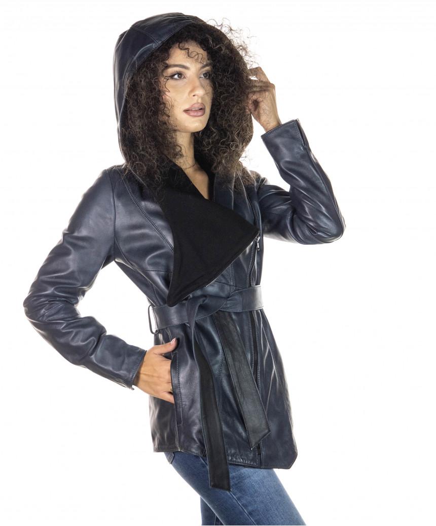 Raff - Giacca Donna in Vera Pelle colore Bordeaux Invecchiato - 5