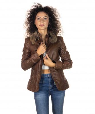 Classic 712 - Giacca Donna in Vera Pelle colore Rosso Morbida - 3