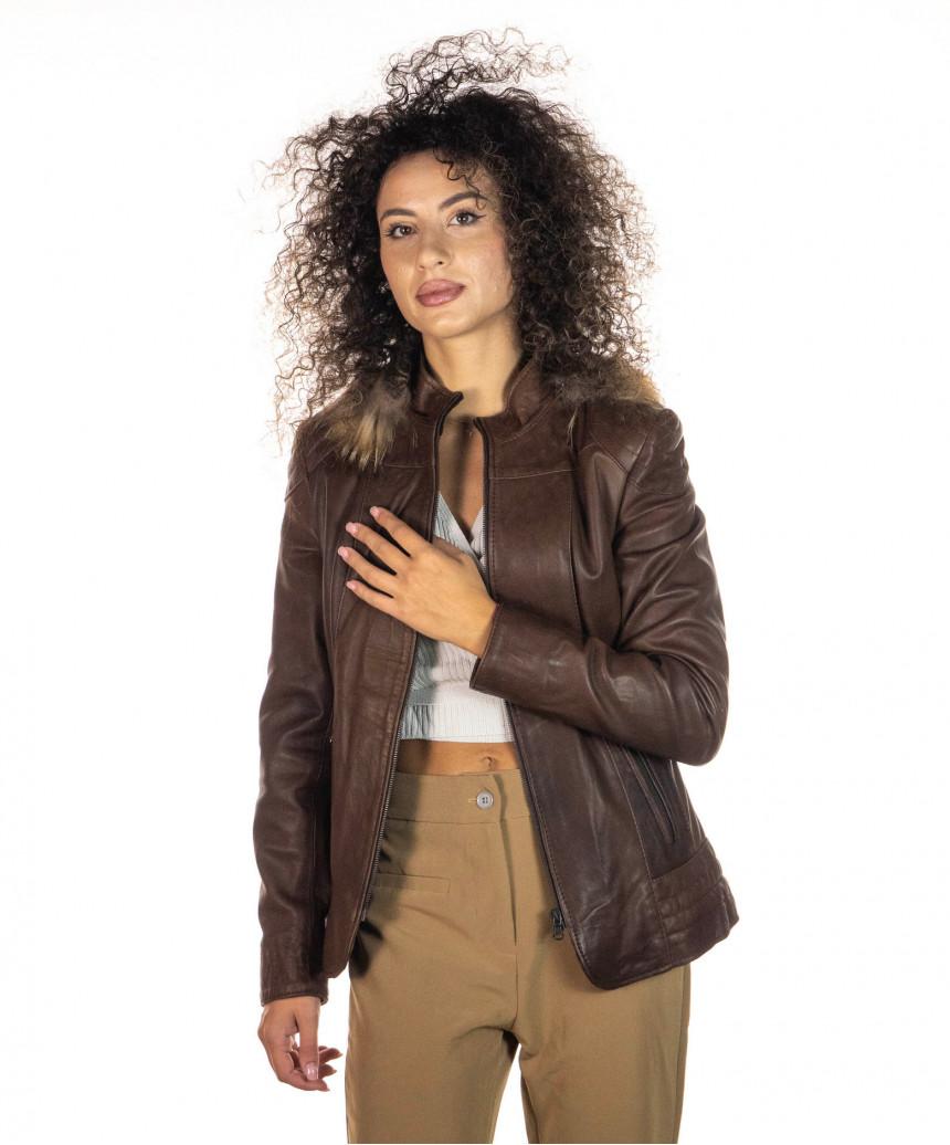 Classic 712 - Giacca Donna in Vera Pelle colore Rosso Morbida - 4