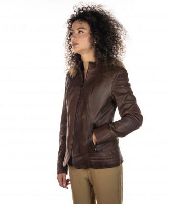 Classic 712 - Giacca Donna in Vera Pelle colore Rosso Morbida - 5