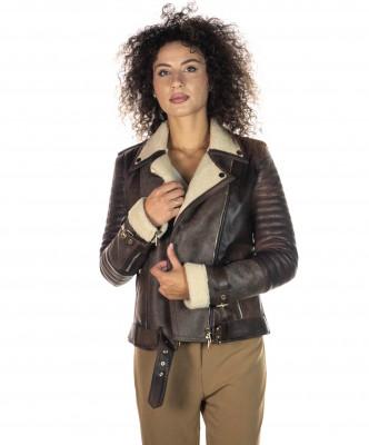 Chiodo Uomo - Men Jacket of Genuine Brown Oil Vintage Leather - 1