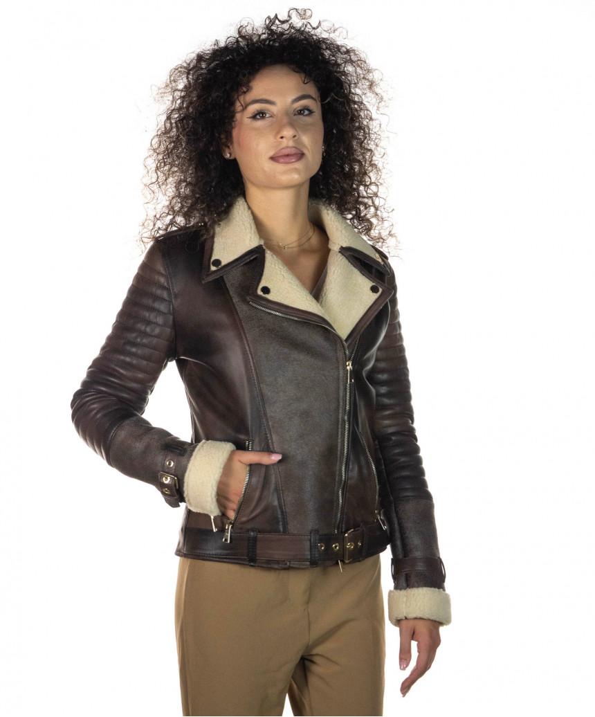 Chiodo Uomo - Men Jacket of Genuine Brown Oil Vintage Leather - 2
