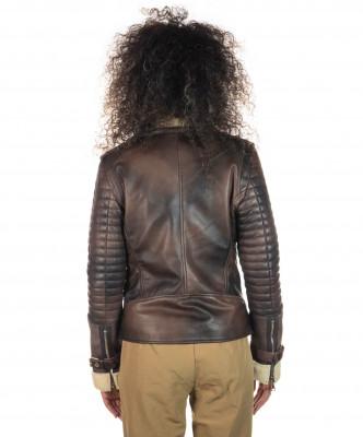 Chiodo Uomo - Men Jacket of Genuine Brown Oil Vintage Leather - 4