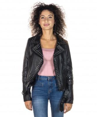 Chiodo Uomo - Men Jacket of Genuine Brown Oil Vintage Leather - 5