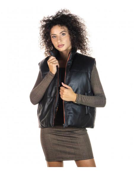 T100 - Giacca Donna con Cappuccio in Vera Pelle colore Nero Morbida - 1
