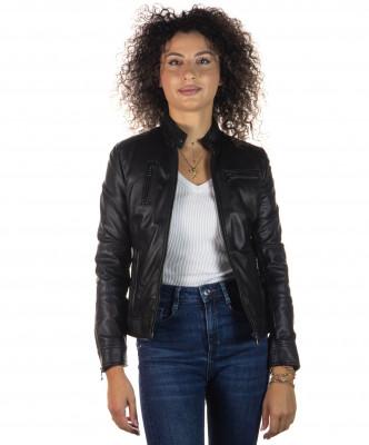 T100 - Giacca Donna con Cappuccio in Vera Pelle colore Nero Morbida - 2