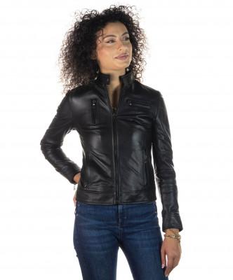 T100 - Giacca Donna con Cappuccio in Vera Pelle colore Nero Morbida - 3