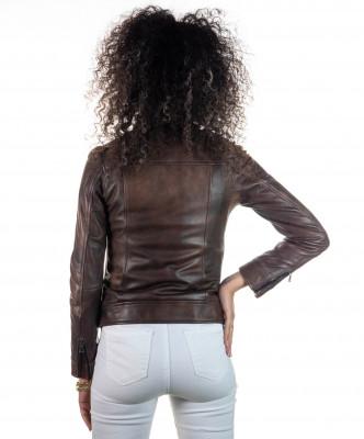 T100 - Giacca Donna con Cappuccio in Vera Pelle colore Nero Morbida - 6