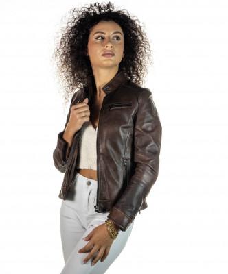 T100 - Giacca Donna con Cappuccio in Vera Pelle colore Nero Morbida - 7