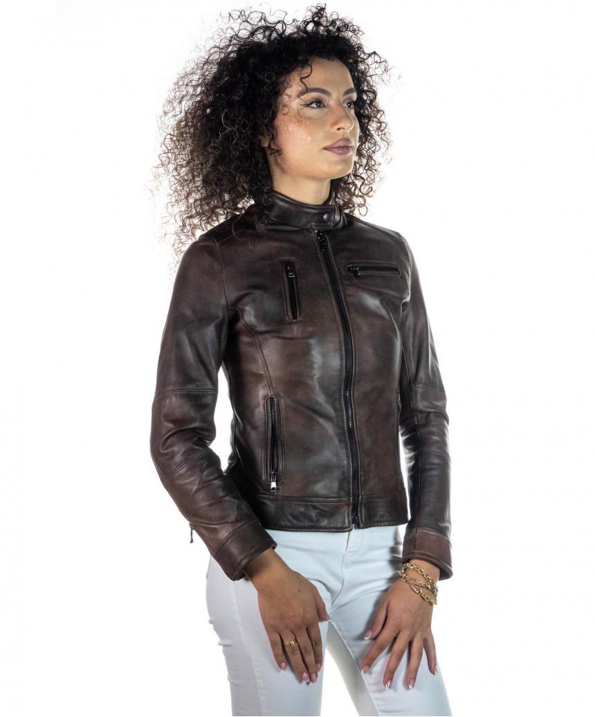 T100 - Giacca Donna con Cappuccio in Vera Pelle colore Nero Morbida - 8
