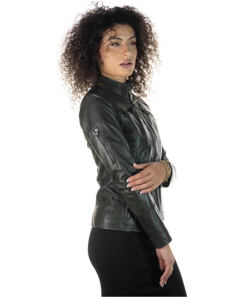 Venezia - Women Dark Brown Genuine Leather Jacket