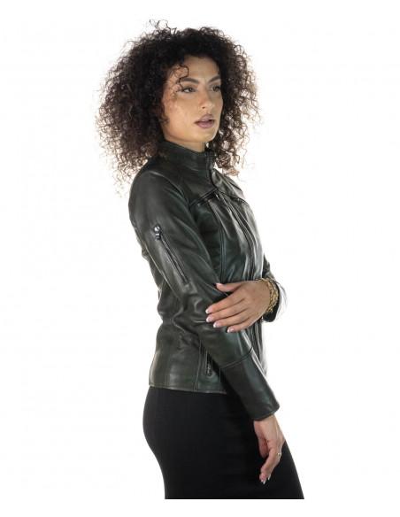 Venezia - Women Jacket of Genuine Dark Brown Leather - 1