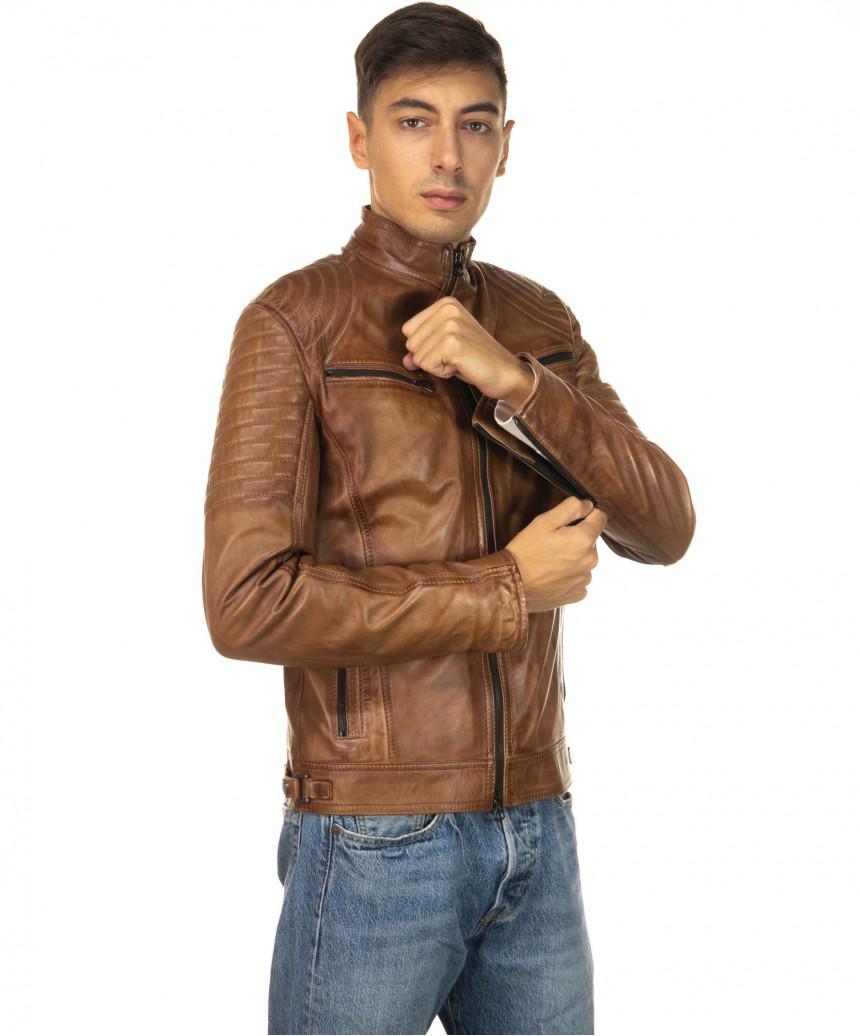Sasha Capp - Giacca Donna con Cappuccio in Vera Pelle colore Nero Morbida - 1