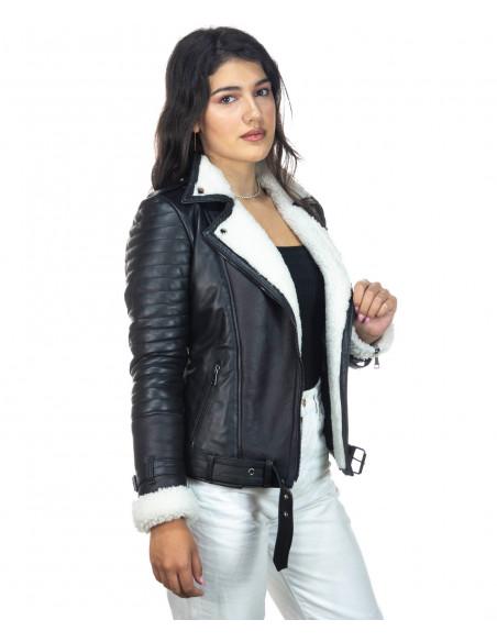 Venezia - Women Jacket with Hood of Genuine Soft Black Leather - 1