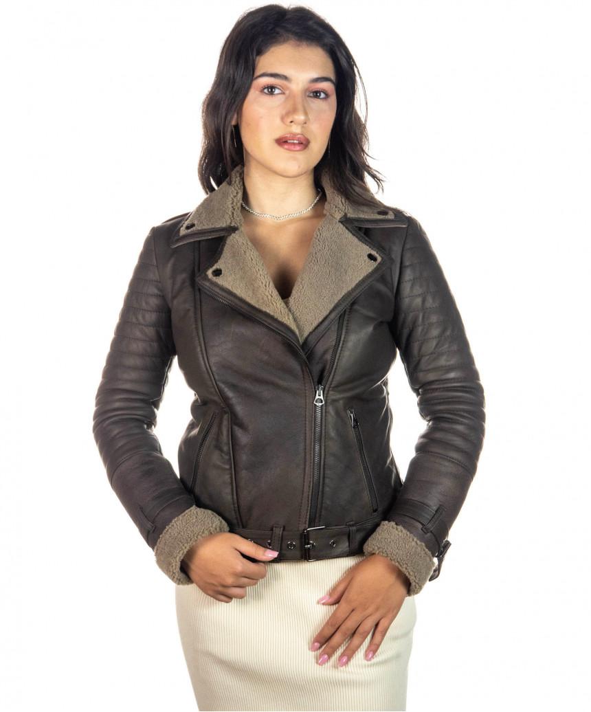 Venezia - Giacca con Cappuccio in Vera Pelle colore Nero Morbida - 5