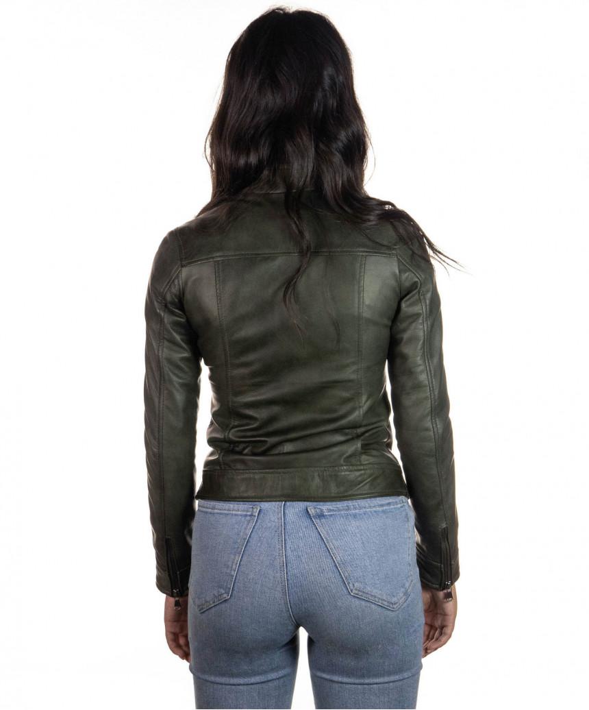 Bomber Donna - Giacca in Vera Pelle colore Nero Morbida - 1